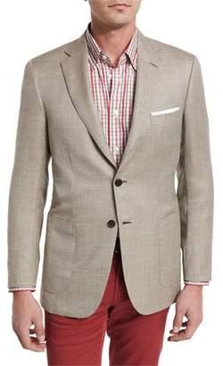 Brioni Textured Wool-Silk Two-Button Blazer, Tan
