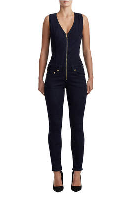 True Religion WOMENS CURVY SKINNY DENIM JUMPSUIT