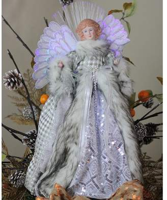 The Holiday Aisle Angel Christmas Tree Topper in Gingham Coat