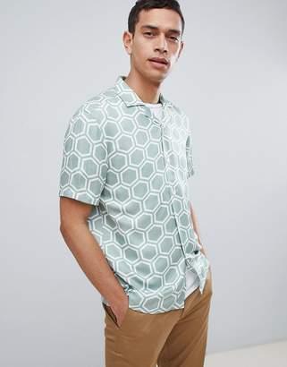 Reiss Slim Short Sleeve Shirt In Hexagon Print