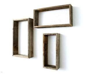 BarnwoodUSA 100% Reclaimed Wood Rustic Open Rectangle 3 Piece Floating Shelf Set