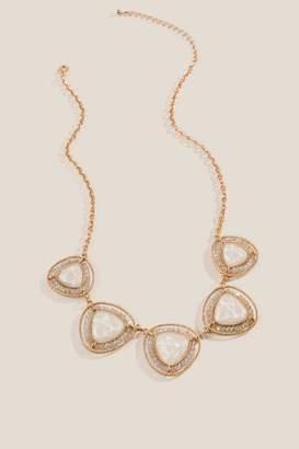 Sondra Crystal Triangle Statement Necklace - Ivory
