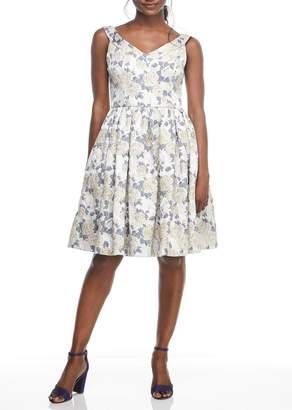 Gal Meets Glam Ava Floral Jacquard Fit & Flare Dress