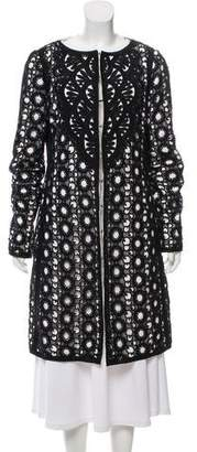Andrew Gn Contrast Embroidered Knee-Length Coat