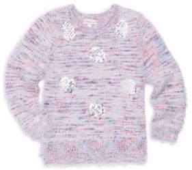 Design History Little Girl's Sequin Polka-Dot Knit Sweater