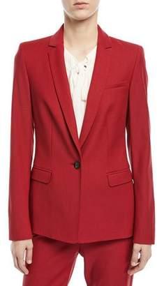 Escada Notch-Lapel One-Button Tailored Wool-Blend Blazer