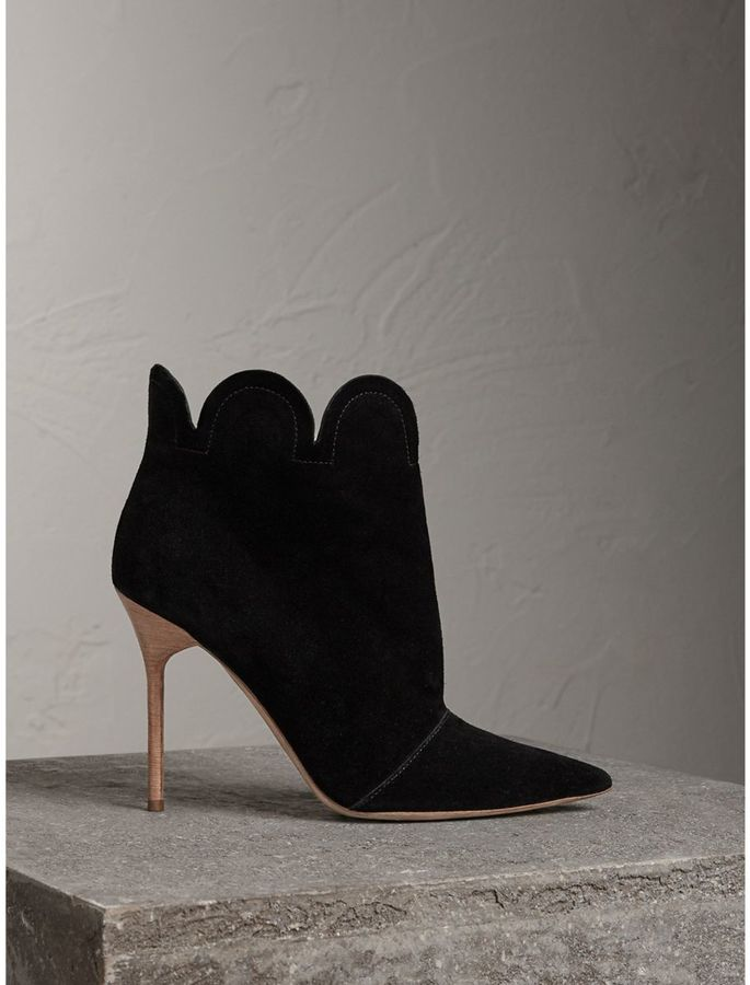 Burberry Scalloped Suede Ankle Boots