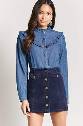 Forever 21 Corduroy Button-Front Skirt