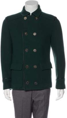 Salvatore Ferragamo Leather-Trimmed Double-Breasted Wool Peacoat