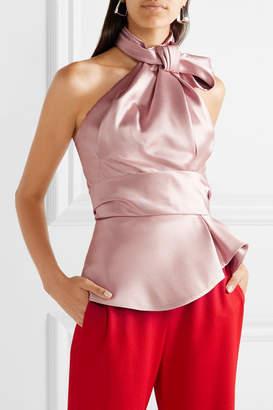 Brandon Maxwell - Bow-embellished Satin-twill Halterneck Top - Blush