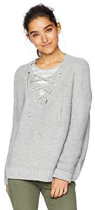 Jack by BB Dakota Junior's Hey Ms Carter Rib Stitch Lace-Front Sweater