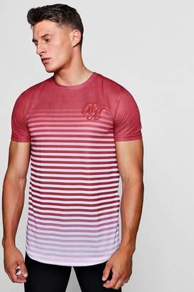boohoo Longline BM Faded Stripe Print T-Shirt
