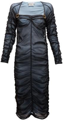 Bottega Veneta Square Neckline Ruched Tulle Midi Dress - Womens - Black Multi