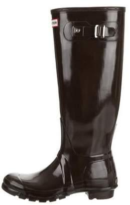 Hunter Knee-High Rain Boots Brown Knee-High Rain Boots
