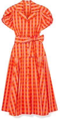 DAY Birger et Mikkelsen LHD - Château Gingham Stretch-cotton Broadcloth Midi Dress - Orange