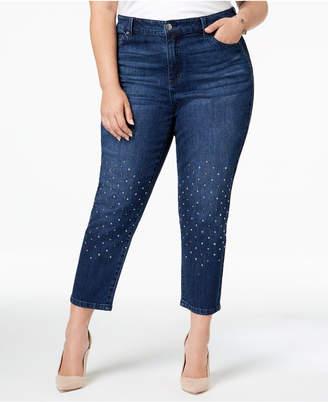 Celebrity Pink Trendy Plus Size Studded Cropped Skinny Jeans