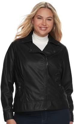 J 2 Juniors' Plus Size J-2 Moto Faux-Leather Jacket
