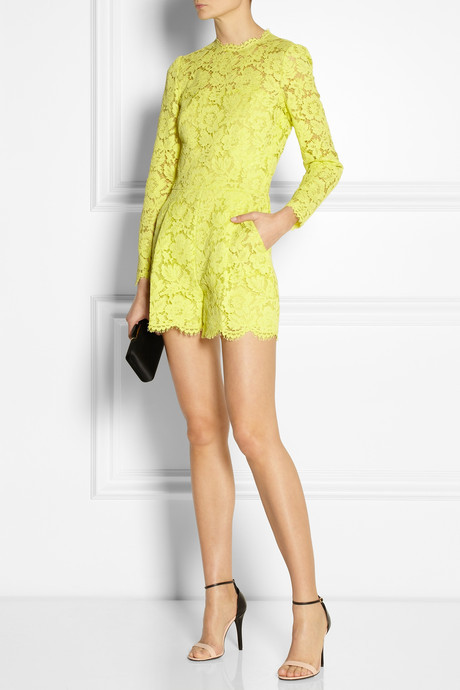 Valentino Neon lace playsuit
