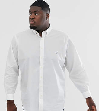 Polo Ralph Lauren Big & Tall icon logo button down stretch poplin shirt in white