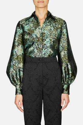 Erdem Eula Long Sleeve Shirt With Hidden Placket And Pointed Collar - Green/Black
