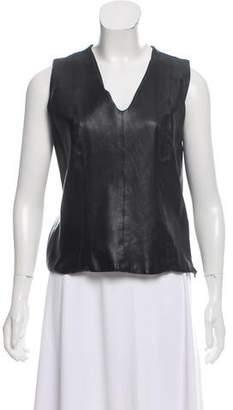 Lela Rose Sleeveless Leather Top