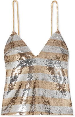 Balmain Chain-embellished Striped Sequined Crepe Camisole