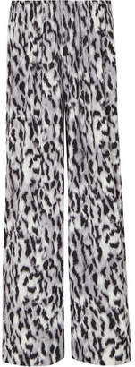 Norma Kamali Elephant Striped Leopard-print Stretch-jersey Wide-leg Pants - Gray