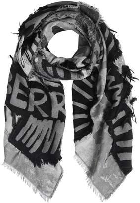 Burberry Graffiti Print Fil Coupé Cotton Wool Modal Scarf