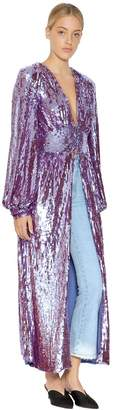 ATTICO Sequined Coat With Puff Sleeves