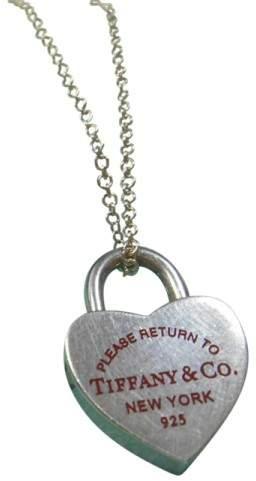 Tiffany & Co. 925 Sterling Silver Heart Lock Red Enamel Charm Pendant Necklace