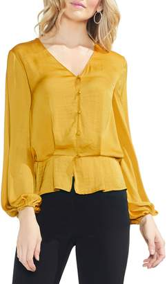 Vince Camuto Peplum Hem Button-Down Blouse