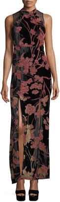 BCBGeneration Floral-Print Velvet Gown