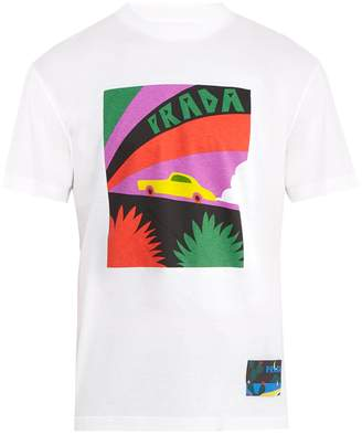 Prada Car-print cotton T-shirt