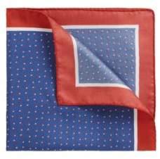 BOSS Hugo Italian-made silk pocket square printed motif One Size Open Blue