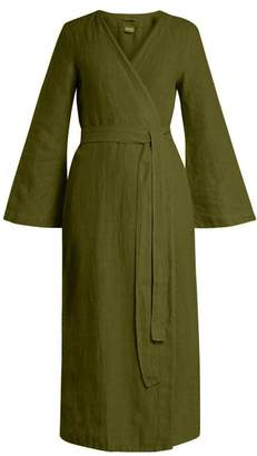 Once Milano - Bell Sleeved Linen Robe - Womens - Dark Green