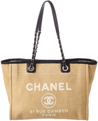 Chanel Beige Canvas Large Deauville Tote