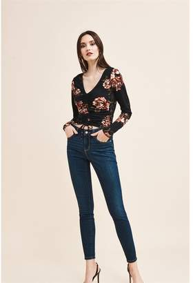 Dynamite Ruched Long Sleeve Top - FINAL SALE Black Floral
