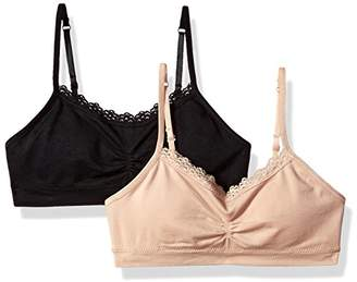 Fruit of the Loom Girls' Seamless Bralette With Lace(Pack Of 2)