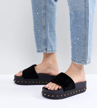 Kaltur Studded Flatform Sliders