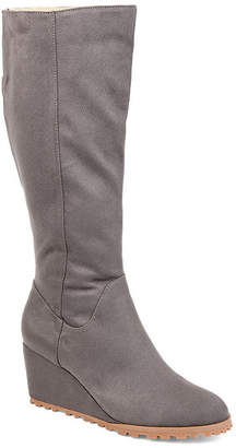 Journee Collection Womens Jc Parker-Wc Wedge Heel Zip Dress Boots
