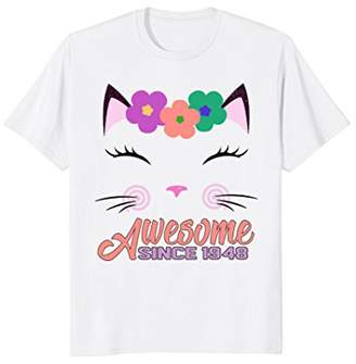 70th Birthday Gifts Awesome Since 1948 Shirt For Cat Lover