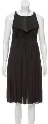 Bottega Veneta Silk Leather-Accented Midi Pleated Dress