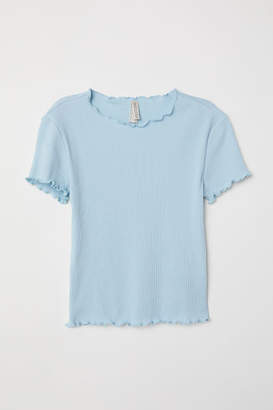 H&M Ribbed Jersey Top - Turquoise
