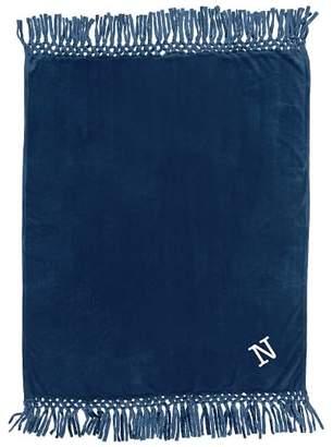 Pottery Barn Teen Plush Bohemian Fringe Throw, 45x56, Navy