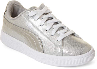 Puma Toddler Girls) Silver Basket Metallic Low-Top Sneakers