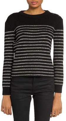 Saint Laurent Shimmer-Striped Crewneck Sweater
