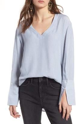 Treasure & Bond Stripe Slit Cuff Shirt