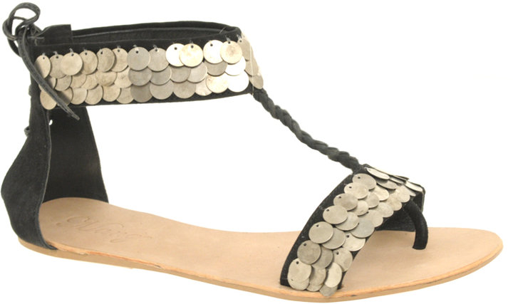 Mango Bedy Sequin Ankle Strapped Flat Sandals