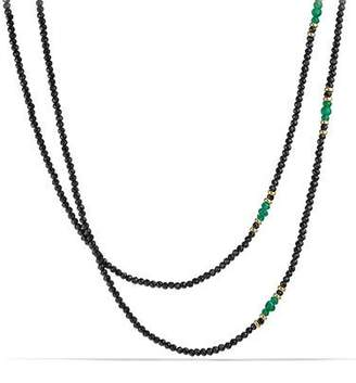 David Yurman Cable Berries Tweejoux Black Spinel & Green Onyx Necklace, 36""