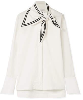 Philosophy di Lorenzo Serafini Tie-neck Cotton-voile And Piqué Shirt - White